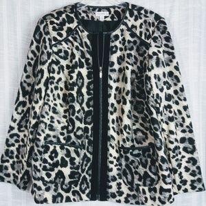 Susan Graver Leopard Full Zip Jacket Plus Size 1X